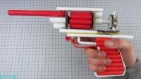 教你用纸做把6连发皮筋动力玩具左轮枪