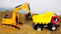 儿童电动遥控工程车玩具 挖土机动画片 挖掘机工作视频 钩机工作视频