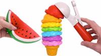 橡皮泥手工 制作七彩冰淇淋