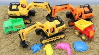 挖掘机视频表演大全 儿童卡车装卸沙土 卡车工作视频