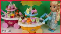 冰淇淋糖果贩卖车玩具,艾莎和汪汪队立大功阿奇玩过家家游戏|北美玩具