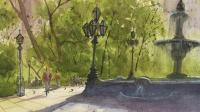 纽约市政厅公园-水彩风景16-手绘帮-朱敏光