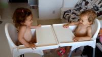 双胞胎宝宝面对面聊天, 一本正经的胡说八道, 太可爱了