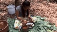 柬埔寨女孩摘路边野花, 烹饪原味美食