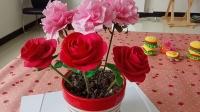 玫瑰花 黏土手工课
