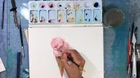 水彩绘画 美味诱人的冰淇淋天热给我来一沓!