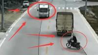 摩托车瞬间变道, 货车司牺牲副驾驶的性命救回他一命