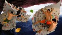 双人攀岩好厉害! 一个人成了另一人的支撑点!