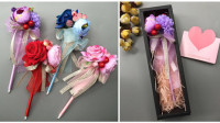 【S123】虫虫丝带diy手工坊-仿真花玫瑰花笔视频做法教程