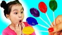 艾莎公主哭着要棒棒糖吃学颜色