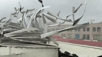 """实拍台风""""天鸽""""肆掠厂房房顶被瞬间掀翻撕碎, 犹如碎纸"""