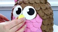 蛋糕手工制作视频 可爱的猫头鹰蛋糕