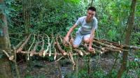 农村小伙野外生存, 出门一把柴刀, 木房子搭在树上