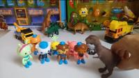 海底小纵队工程车恐龙玩具视频