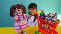 亲子游戏芭比娃娃购物水果蛋糕切切看过家家玩具