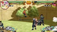 PS2火影忍者木叶英雄1: 全场都有道具吃 必杀好不好看全凭手速