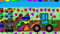 挖掘机视频表演大全挖土机玩具视频汽车总动员 赛车总动员 变形警车珀利拖车汤姆79