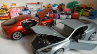 海底小纵队变形警车汽车总动员玩具视频3工程车小汽车