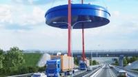 两辆卡车靠两个电缆, 吊起尽百吨货物, 悬浮在空中如何实现
