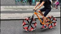 不怕钉子的自行车, 用6双运动鞋做轮胎, 骑车像跑步, 上路违法吗