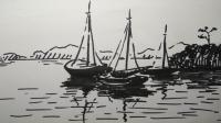 学画风景速写船