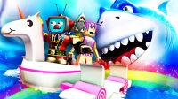 【屌德斯&小熙】 Roblox鲨鱼生存模拟器 全新船只登场 在彩虹独角兽船上用原谅激光枪疯狂射鲨鱼
