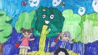 飞童亿佳儿童绘画学生作品赏析: 一涵-《一起来植树》