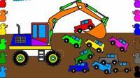 挖掘机视频表演大全挖土机玩具视频汽车总动员 赛车总动员 变形警车珀利拖车汤姆97