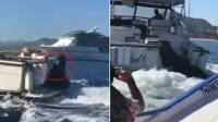 海豹纵身一跃跳上游艇尾部 搭顺风车吹海风引游客围观