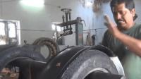 印度小作坊轮胎翻新的速度敢不敢再慢点? 这还能赚钱真奇迹!