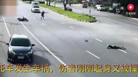 2死神来了, 两个摩托车发生车祸, 伤者刚刚起身又被撞飞, 太凄惨