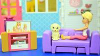 芭比娃娃玩具 芭比的折叠小别墅