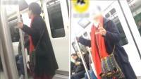 大妈地铁上载歌载舞 乘客必须看她