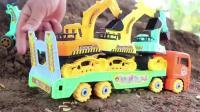 儿童迷你挖掘机 工程车 货车户外挖土工作玩具视频