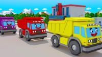 大卡车运来小木块一起玩推球和障碍物赛车