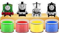 托马斯小火车和朋友在彩色颜料桶洗澡, 变成了彩色, 益智动画学颜色