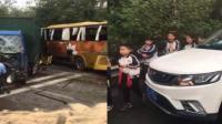 满载小学生大巴撞货车 现场哭声一片
