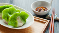 鲜艳欲滴翡翠白玉小饺子, 一口一个, 宝宝说要天天吃