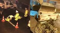 交警设卡检查被奔驰车冲撞 俩警员受伤倒地哀嚎