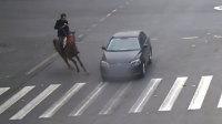 男子策马飞奔闯红灯追尾轿车被甩飞