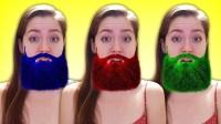 艾莎公主吃了MM豆长出了彩色的胡子 蜘蛛侠和艾莎公主