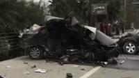 小车公路失控漂移 发生猛烈碰撞身亡