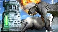 小飞象✘野兽战争模拟器✘新模式塔防霸王龙集体暴走! 黑科技大战恐龙!