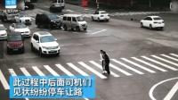 正能量! 热心女司机路口停车扶拄拐路人过马路, 交警: 不违规