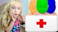 学习颜色! 小萝莉给生病娃娃喂糖豆豆, 亲子扮家家