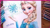 欢乐甜心创意画时间-冰雪奇缘艾莎公主 简笔画教学 手绘创意 亲子手工 小猪佩奇