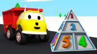 和翻斗车伊森学习 第13集 建造金字塔学习数字