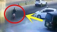 电动车男子横穿马路, 以为货车会让他先走, 真是想的天真啊!