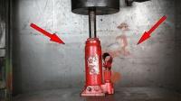 千斤顶能否顶住500吨的液压机? 场面又是火又是爆, 请勿轻易模仿