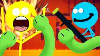 【小熙&屌德斯】火柴人大乱斗 搞笑互坑兄妹抢极限蛇皮炮射出超级大蟒蛇!